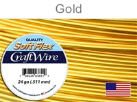 Soft Flex 24 Gauge Craft Wire, Silver Plated Gold. (Sold as - 1 Spool Per Pack)