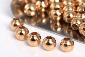 Gold Filled - Rose Gold 3.0mm Seamed Round Bead. Sold as - 50 Pieces Per Pack