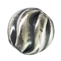 Sterling Silver 6.0mm Oxidized Twisted Round Bead. Sold as - 8 Pieces Per Pack