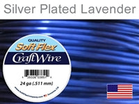 Soft Flex 24 Gauge Craft Wire, Silver Plated Lavender. (Sold as - 1 Spool Per Pack)