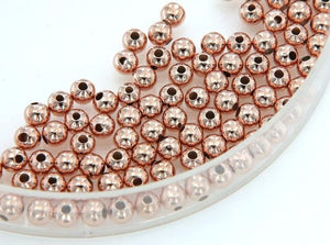 Gold Filled - Rose Gold 4.0mm Seamless Round Bead. Sold as - 30 Pieces Per Pack.