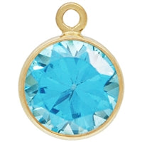 Gold Filled 6.0mm Aqua Blue CZ/March CZ Crystal Drop. Sold as - 2 Pieces Per Pack