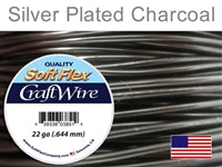 Soft Flex 22 Gauge Craft Wire, Silver Plated Charcoal. (Sold as - 1 Spool Per Pack)