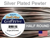 Soft Flex 21 Gauge Half Round Craft Wire, Silver Plated Pewter. (Sold as - 1 Spool Per Pack)
