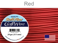 Soft Flex 24 Gauge Craft Wire, Red. (Sold as - 1 Spool Per Pack)