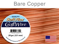 Soft Flex 28 Gauge Craft Wire, Bare Copper. (Sold as - 1 Spool Per Pack)