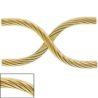 "DISCONTINUED - Gold Filled 8.5mm by 20.0mm Criss Cross ""S"" Tube with corrugated spiral texture. Sold as - 6 Pieces Per Pack"