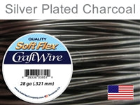 Soft Flex 28 Gauge Craft Wire, Silver Plated Charcoal. (Sold as - 1 Spool Per Pack)