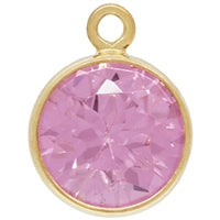Gold Filled 6.0mm Pink Tourmoline CZ/October CZ Crystal Drop. Sold as - 2 Pieces Per Pack