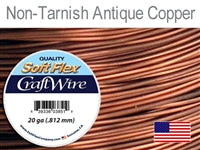 Soft Flex 20 Gauge Craft Wire, Non-Tarnish Antique Copper. (Sold as - 1 Spool Per Pack)