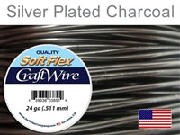 Soft Flex 24 Gauge Craft Wire, Silver Plated Charcoal. (Sold as - 1 Spool Per Pack)