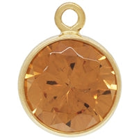 Gold Filled 6.0mm Cognac CZ Crystal Drop. Sold as - 2 Pieces Per Pack