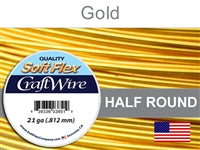 Soft Flex 21 Gauge Half Round Craft Wire, Silver Plated Gold. (Sold as - 1 Spool Per Pack)