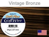 Soft Flex 28 Gauge Craft Wire, Vintage Bronze. (Sold as - 1 Spool Per Pack)