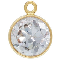 Gold Filled 6.0mm Clear CZ/April CZ Crystal Drop. Sold as - 2 Pieces Per Pack