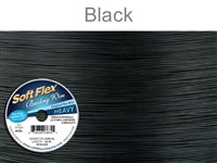Soft Flex 49 Strand .024 Inch Diameter, 30 feet Beading Wire, Black Onyx. (Sold as - 1 Spool Per Pack)