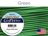Soft Flex 22 Gauge Craft Wire, Green. (Sold as - 1 Spool Per Pack)