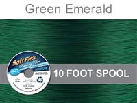 Soft Flex 49 Strand .019 Inch Diameter, 10 feet Beading Wire, Green Emerald. (Sold as - 1 Spool Per Pack)