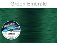 Soft Flex 49 Strand .019 Inch Diameter, 30 feet Beading Wire, Green Emerald. (Sold as - 1 Spool Per Pack)