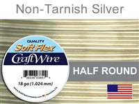Soft Flex 18 Gauge Half Round Craft Wire, Non-Tarnish Silver. (Sold as - 1 Spool Per Pack)