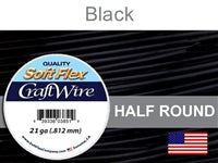 Soft Flex 21 Gauge Half Round Craft Wire, Black. (Sold as - 1 Spool Per Pack)
