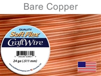Soft Flex 24 Gauge Craft Wire, Bare Copper. (Sold as - 1 Spool Per Pack)
