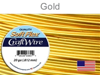 Soft Flex 20 Gauge Craft Wire, Silver Plated Gold. (Sold as - 1 Spool Per Pack)