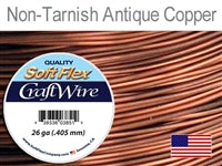 Soft Flex 26 Gauge Craft Wire, Non-Tarnish Antique Copper. (Sold as - 1 Spool Per Pack)