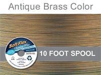 Soft Flex 49 Strand .019 Inch Diameter, 10 feet Beading Wire, Antique Brass Color. (Sold as - 1 Spool Per Pack)