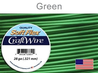 Soft Flex 28 Gauge Craft Wire, Green. (Sold as - 1 Spool Per Pack)