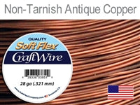 Soft Flex 28 Gauge Craft Wire, Non-Tarnish Antique Copper. (Sold as - 1 Spool Per Pack)