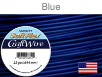 Soft Flex 22 Gauge Craft Wire, Blue. (Sold as - 1 Spool Per Pack)