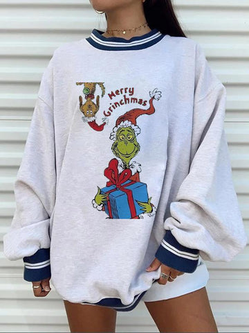 Christmas monster print casual sweatshirt