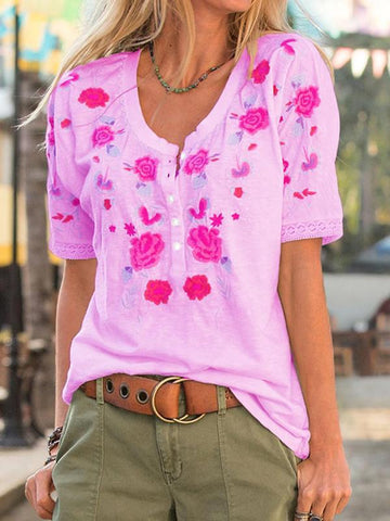 Retro Embroidered Button Down Half Sleeve Blouse