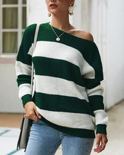 Stripe Dropped Shoulders Sweater (3 Colors)
