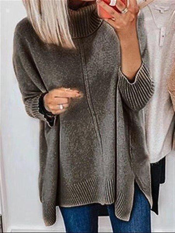 Autumn Winter Plus Size Turtleneck Long Sleeve Knitted Sweater