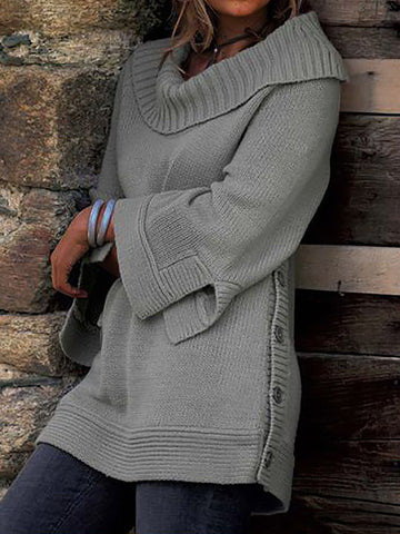 Button Down Slit Hem Sweaters Plus Size Pullovers Jumpers