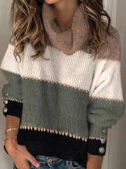 Casual pile collar color matching decorative button knit sweater