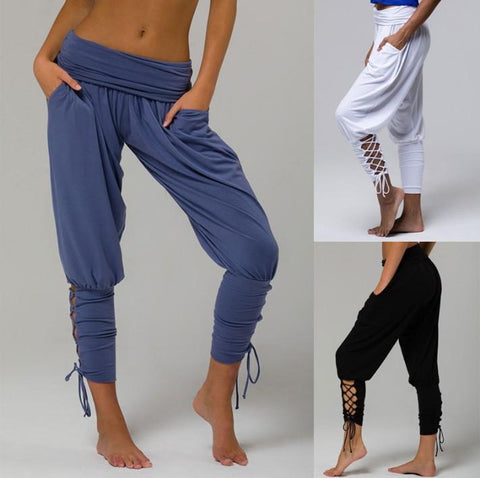 Lace-up Bandage Elastic Waist Jogger Pants Yoga Leggings