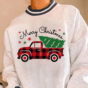 Casual Christmas Tree Print Sweater