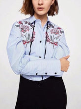 Load image into Gallery viewer, Blue Stripe Shirt Collar Embroidery Detail Bubble Sleeve Shirt