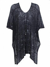 Load image into Gallery viewer, Black Ribbed V-neck Split Side Sheer Mesh Blouse