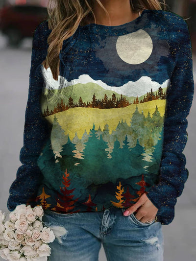 Ladies forest night scenery print sweatshirt