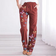 Women's Plus Size Cotton And Linen Butterfly print Casual Pants