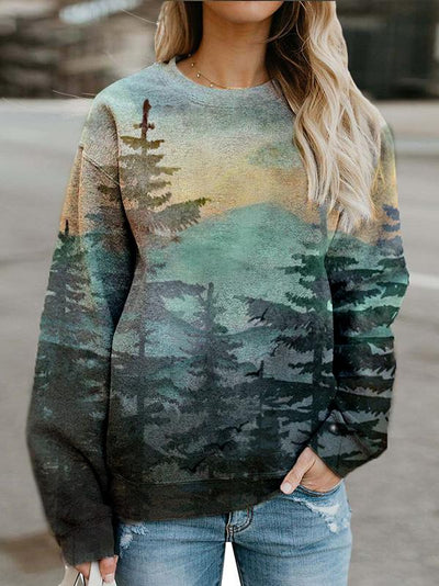 Casual crew neck forest print sweatshirt