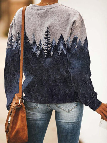 Casual loose forest print long sleeve sweatshirt