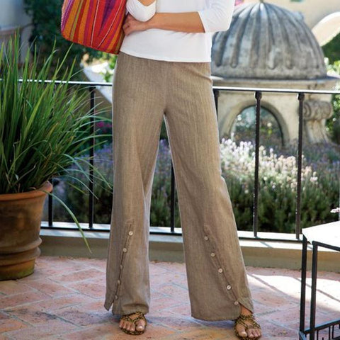 Women's Elasticated Multi-Button Casual Pants