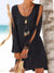 Deep V-neck loose shoulder long sleeveloose casual beach dress