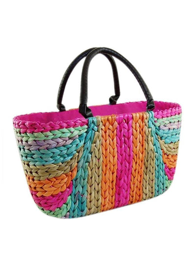 Rainbow Serape Wicker Handbag