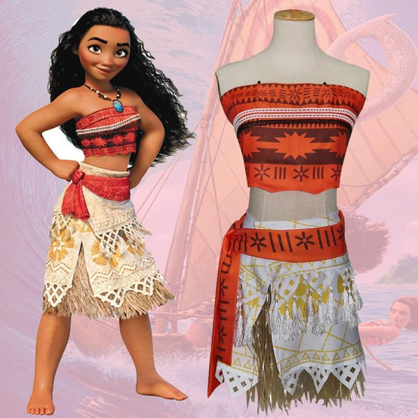 Adult Women Kids Halloween Moana Costume Skirt Suit Child Fancy Cosplay Clothing Vaiana Dress Outfit Baby 49T